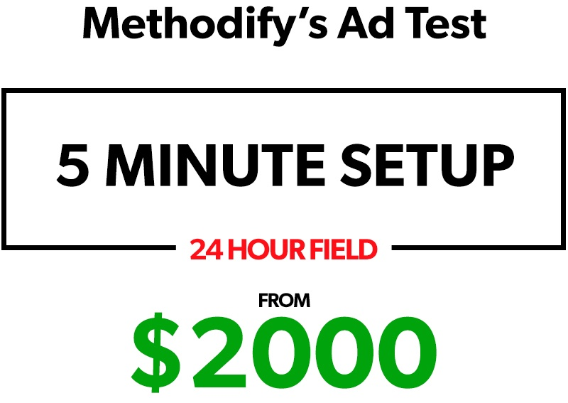 Methodify's Ad Test: 5 Minute Setup, 24 Hour Field starting from $2000.